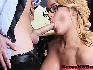 sassy secretary makes her chief additional happy with her vagina