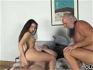 elderly porno gang penetrated nubile Takes 2 granddad spears