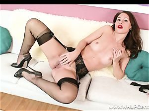 babe peels off off ebony lacy lingerie to masturbate in nylons