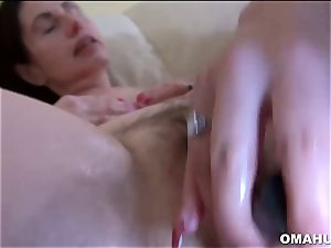 Mature grandma loves to boink firm with faux-cock