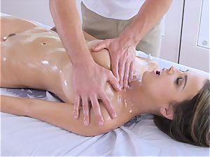 lubricated up dark-haired Dillion Harper fumbled and poked with thick pecker