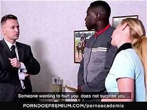 porn ACADEMIE - ass-fuck threeway with platinum-blonde college girl