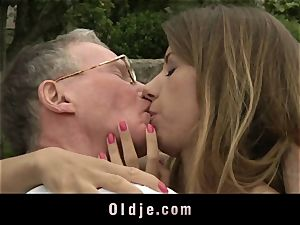 chesty nubile girlfriend assfuck romping ginormous granddad knob