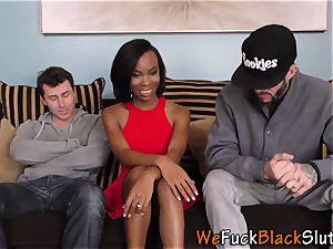 black skank takes hefty pecker